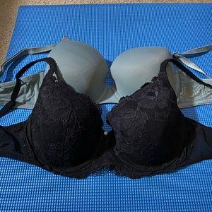 2-pk VICTORIA'S SECRET Black Lace+Soft T-Shirt Bra